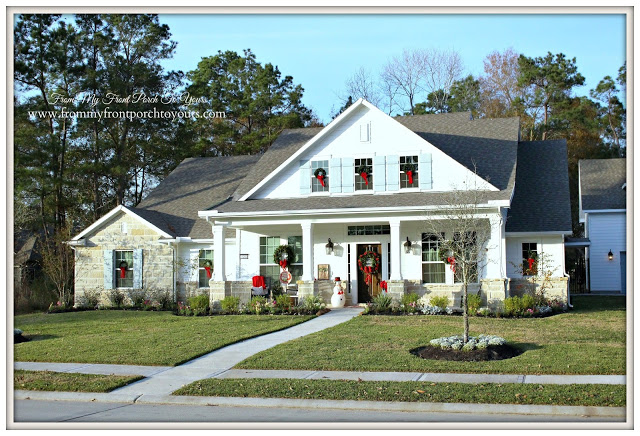 Christmas- Farmhouse-Wreaths-Red Bows-Windows-White Farmhouse-From My Front Porch To Yours