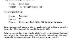 Contoh Surat Keterangan Kerja Untuk Membuat Rekening Bank