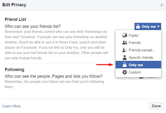 Hide Friends List On Facebook