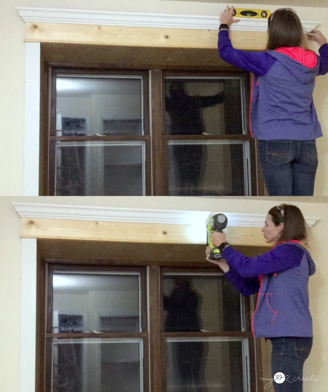 make sure crown moulding is level and nail onto header board for window trim