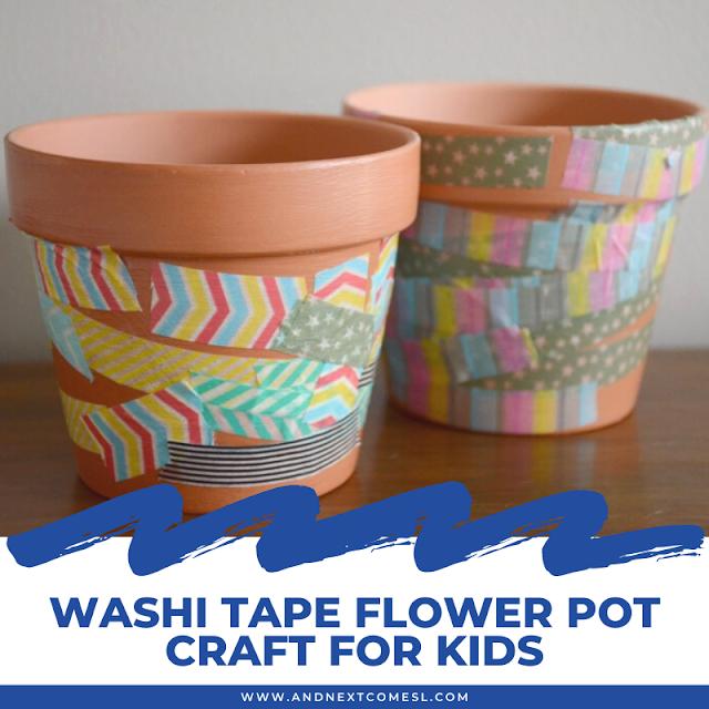 Washi tape flower pot spring craft for kids