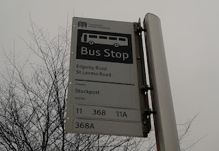Bus stop sign on Edgeley Road in Stockport