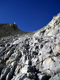 You can see the end of the chute here. Stay left of the notch to reach the summit.