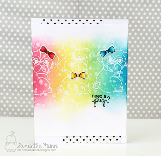 Pug Rainbow Card by Samantha Mann | Pug Hugs stamp set by Newton's Nook Designs #newtonsnook