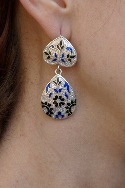 Silver enameled meena earrings from India