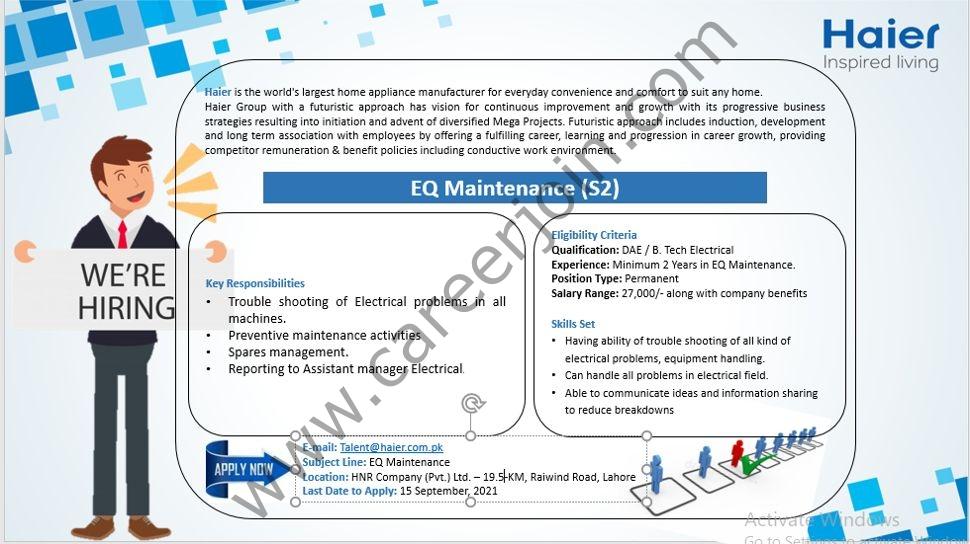 Haier Pakistan Jobs EQ Maintenance S2
