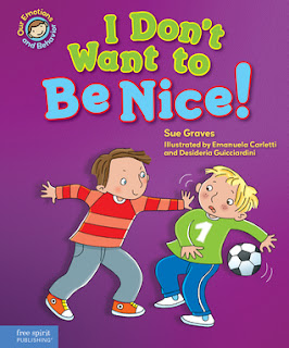 I Don't Want to Be Nice is a social story geared toward 4-8 year olds. It focuses on Finn who doesn't play fair and isn't nice or helpful to others. With help from a teacher and his classmates, Finn realizes that it's good to be a buddy and starts being kind toward others.