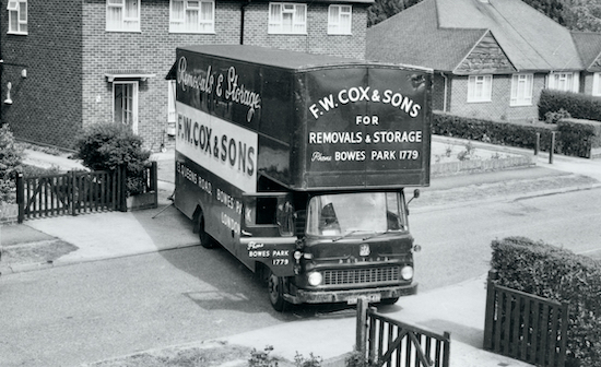 Removal van in Skimpans Close, Wellham Green in the summer of 1969. Image by Ron Kingdon part of the Images of North Mymms collection