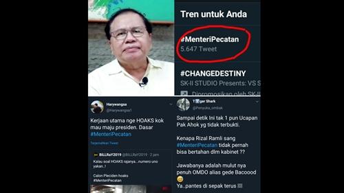 Tagar 'Menteri Pecatan' Trending, Rizal Ramli Disebut Omdo dan Suka Hoaks