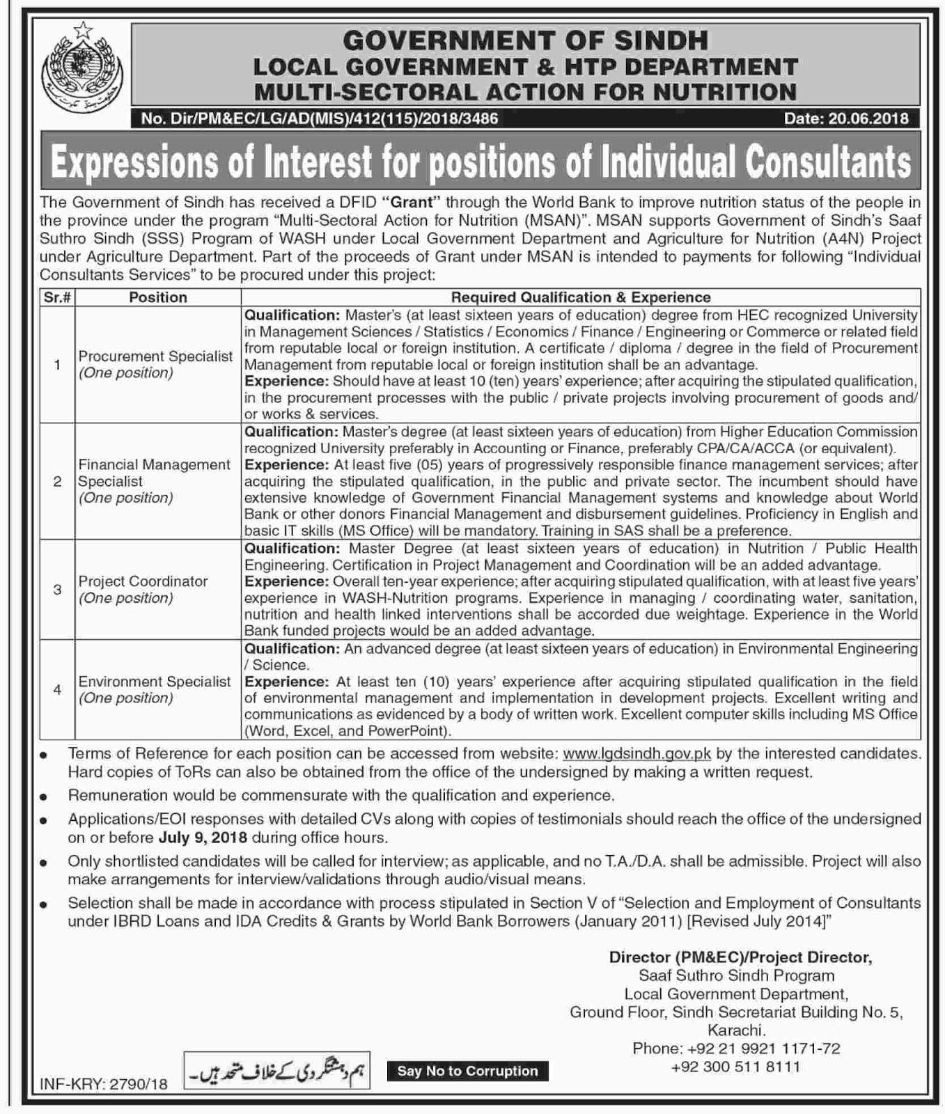 HTP Department Govt of Sindh