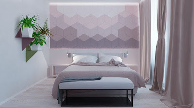 Bedroom accent wall idea with pastel purple color and geometric decoration