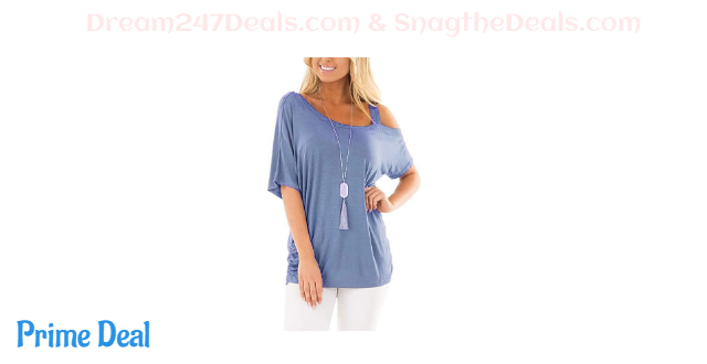 Womens One Cold Shoulder Strappy Short Sleeve Tunic T Shirt Tops 45% OFF