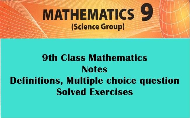 9th Class Math Notes - Rashid Notes