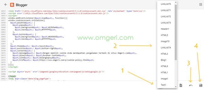 Mencari Tag Widget Pada Editor HTML Baru Dari Blogger Tampilan Baru