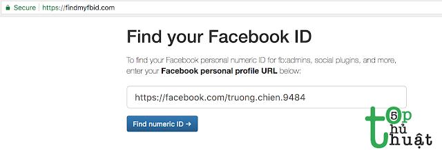 Nhập link profile facebook để lấy ID