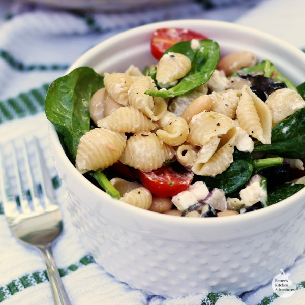 Spinach, Feta, and White Bean Pasta Salad | by Renee's Kitchen Adventures