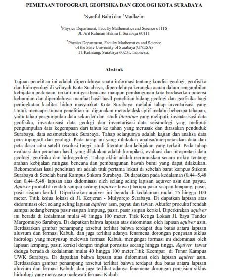 Pemetaan Topografi, Geofisika Dan Geologi Kota Surabaya [PAPER]