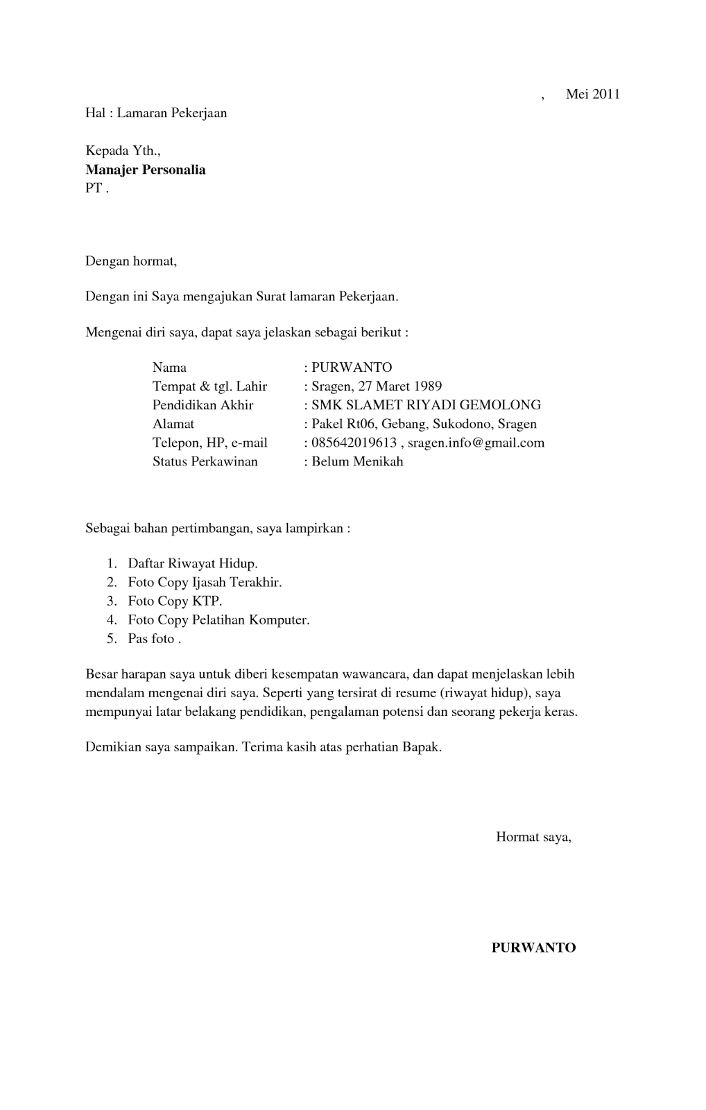 Resume Format With Examples