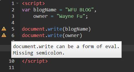 javascript-hint-線上檢查 HTML Javascript CSS 語法工具 自動偵測錯誤