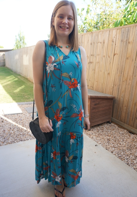 Kmart tropical notch neck floral maxi dress, Amerii round rattan sling bag birthday party at home outfit | awayfromblue