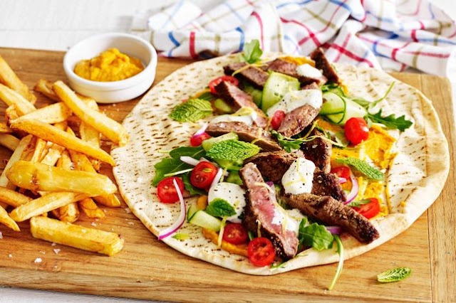 Middle Eastern beef and hummus wraps