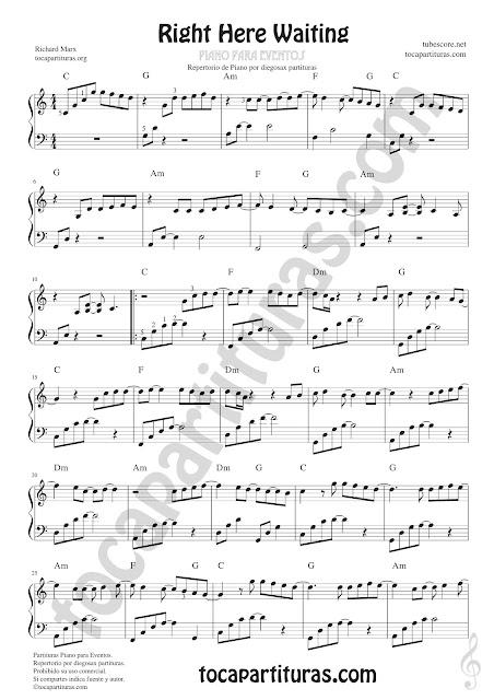 1  Right here waiting vídeo partitura tutorial para Piano Solista de Eventos Sheet Music Right here waiting Piano by Richard Mex Pianists musician