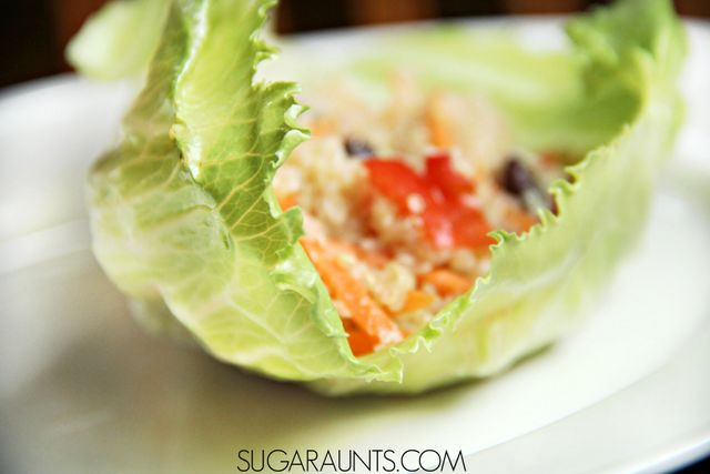 Quinoa Lettuce Wrap Recipe.  This is a delicious way to eat quinoa and fun for kids.  They will love this kids in the kitchen cooking with kids recipe!  Loaded with vegetables and healthy foods, this quinoa recipe will be a hit at dinner with the family.