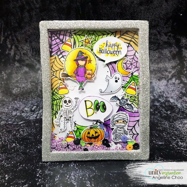 ScrappyScrappy: Unity Stamp August Cuties - Entanglement & Little Boos #scrappyscrappy #unitystampco #card #cardmaking #stamp #papercraft #youtube #quicktipvideo #janedavenport #borderbackgroundstamp #shakercard #shadowbox #katscrappiness #prettypinkposh #sequins #halloweencard #halloweendecor #halloween #littleboos #entanglement #watercolor #silverglitterfoam