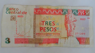 Three peso note from Cuba