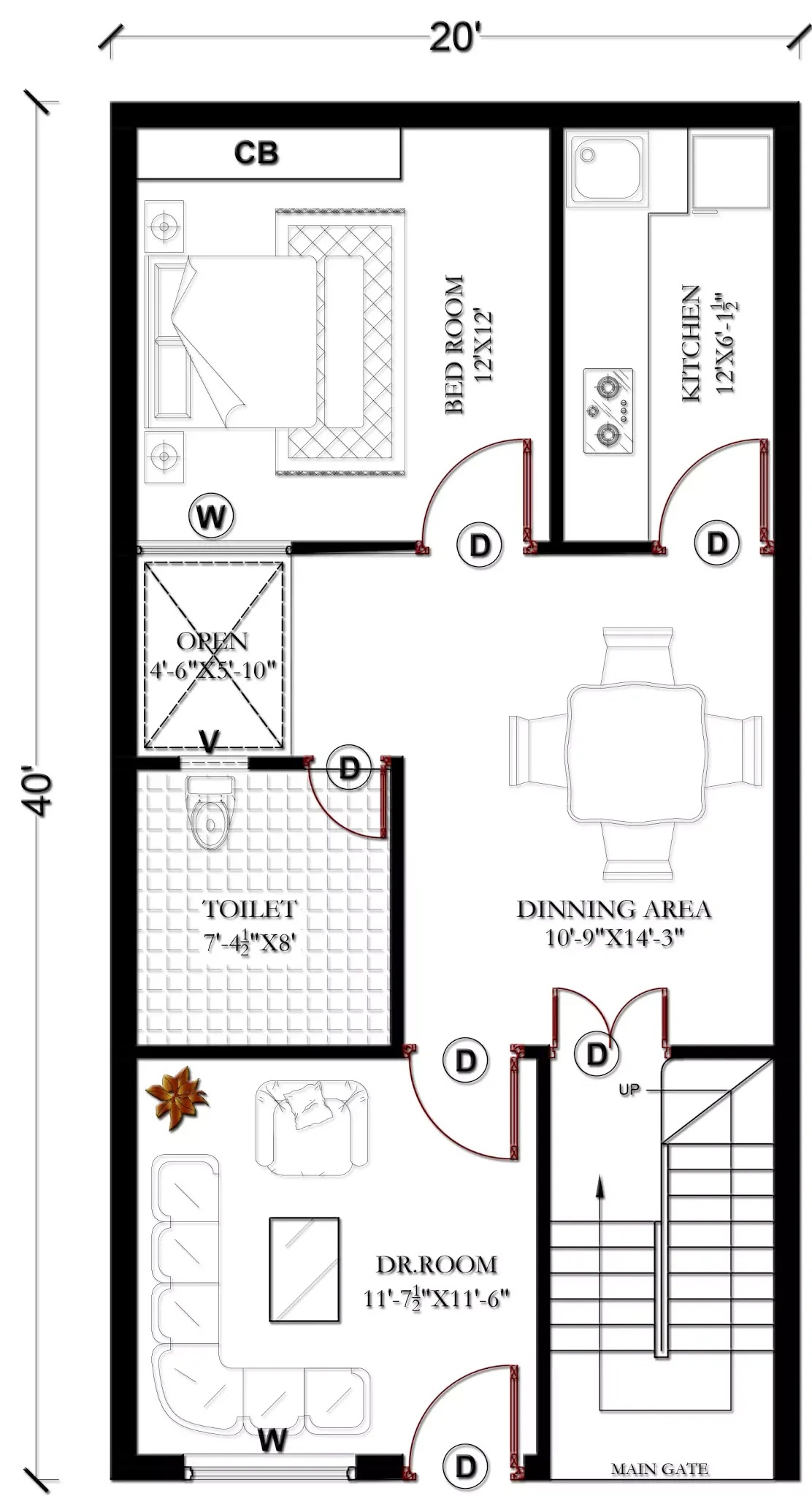 Floor Plan For 20x40 Ft 2bhk Without Car Parking 800 Sqft Sumit Kush
