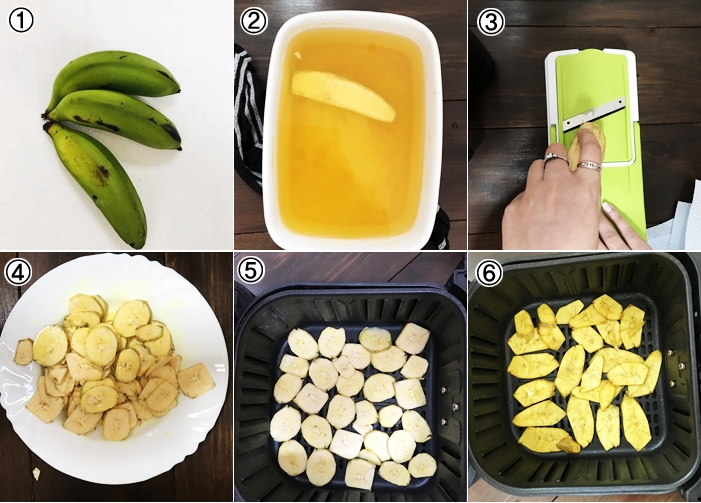 GREEN BANANA CHIPS IN THE MAKING IN AIR FRYER