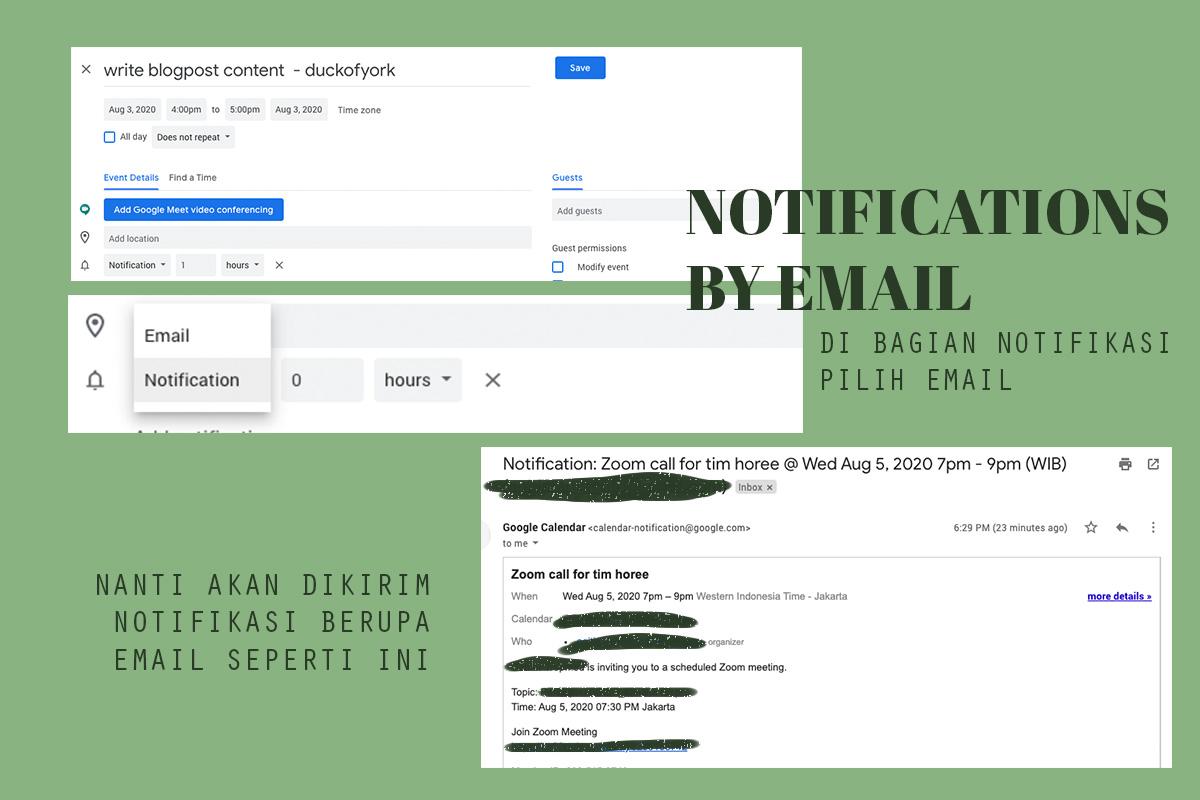 cara mengirim notifikasi google calendar via email