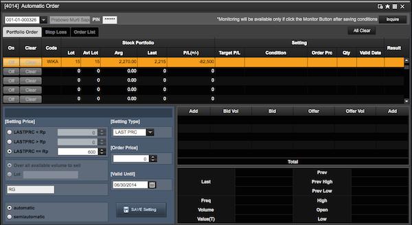 automatic order saham WIKA dengan DT NextG