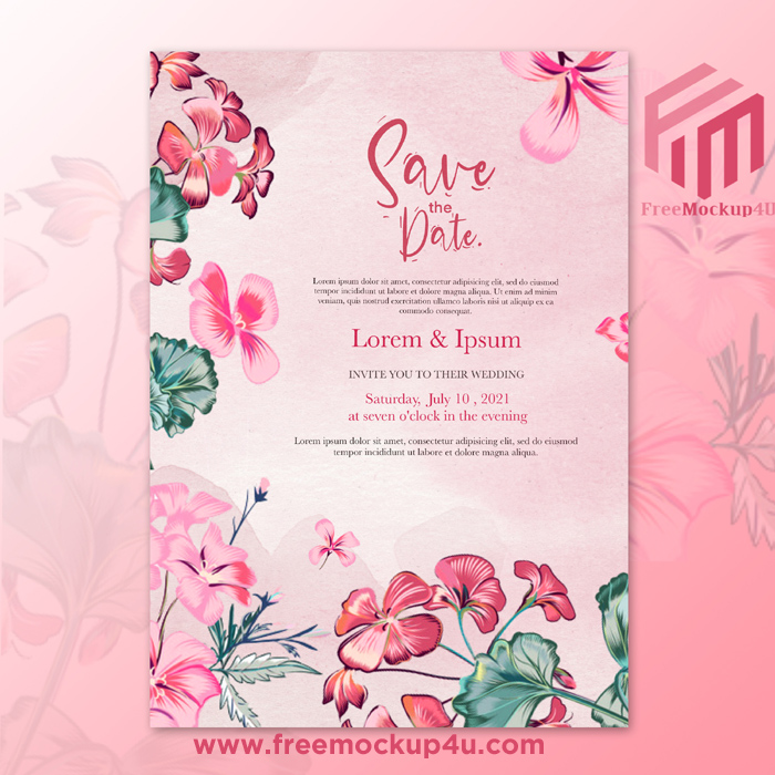 Beautiful Watercolor Wedding Template With Red Flower