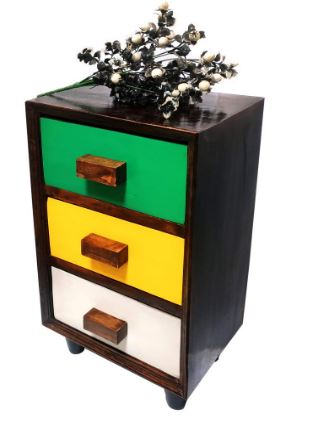 Country Side Wood Bedside Table with 3 Drawer