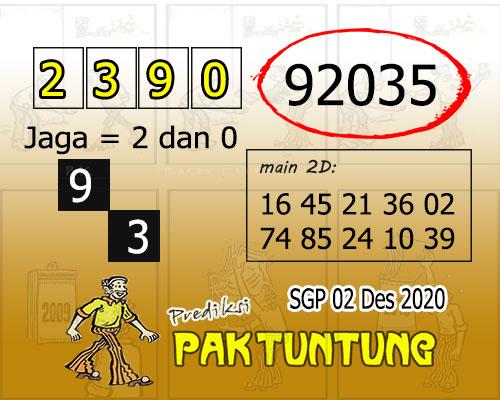 Pak Tuntung SGP Rabu 02 Desember 2020