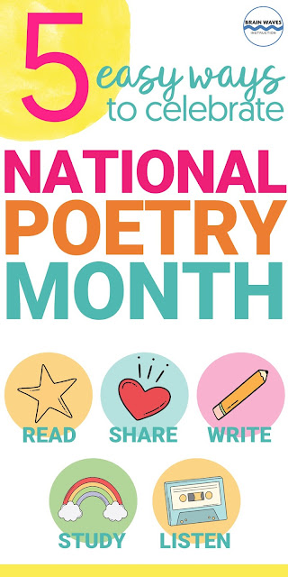 Ways to celebrate National Poetry Month! This collection of easy ways to teach students about poets and poetry during the month of April will help make teaching poetry a breeze! You'll find free poetry lessons and tons of fresh ideas in this collection of ways to celebrate National Poetry Month!