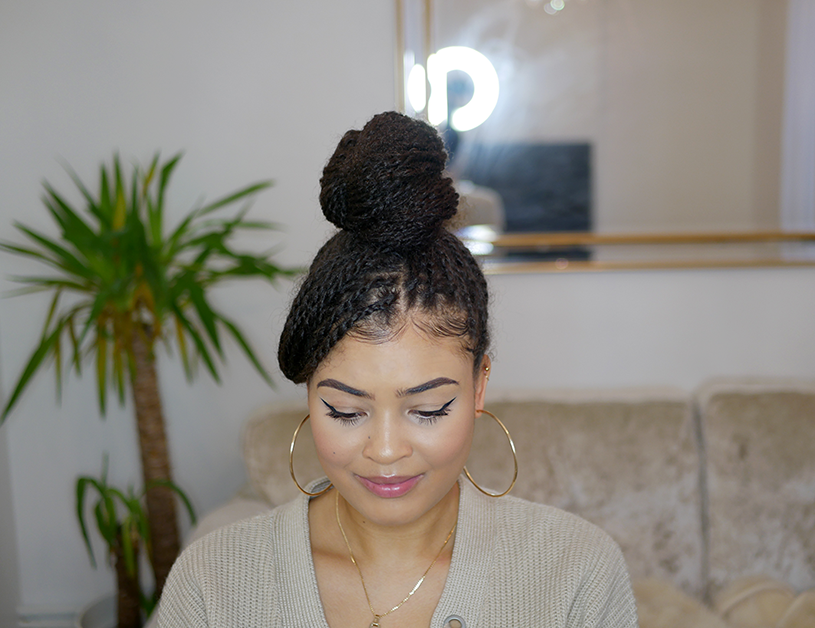 Mini twist hair styles on natural 4a/4b hair- top knot bun with fringe