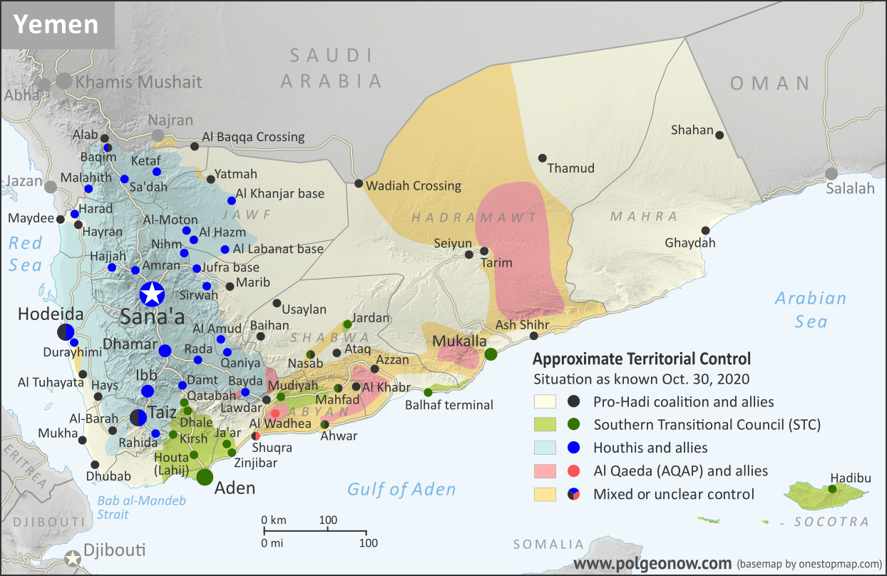 Map of what's happening in Yemen as of October 2020, including territorial control for the unrecognized Houthi government, president-in-exile Hadi and his allies in the Saudi-led coalition, the UAE-backed southern separatist Southern Transitional Council (STC), and Al Qaeda in the Arabian Peninsula (AQAP). Includes recent locations of fighting and other events, including Al Amud, Al Khanjar base, Durayhimi, and more.