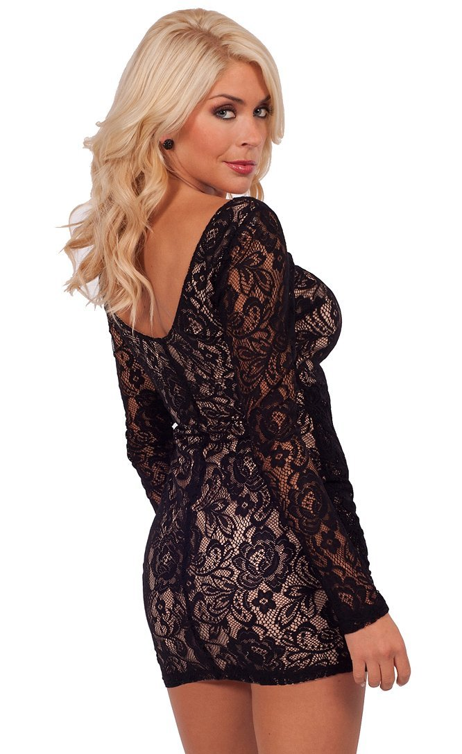 Sexy   Romantic Low Cut Black Victorian Floral Lace Overlay Long-Sleeve  Open Back Fitted Cocktail Mini Dress. List Price   49.99 eb62bde6d