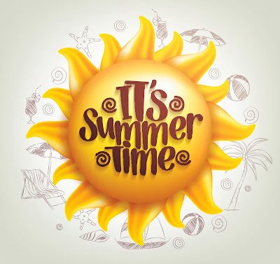 Illustrated image of a sun and sketches of summertime images like sea shells, beach balls, palm trees.  Text: It's Summer Time.