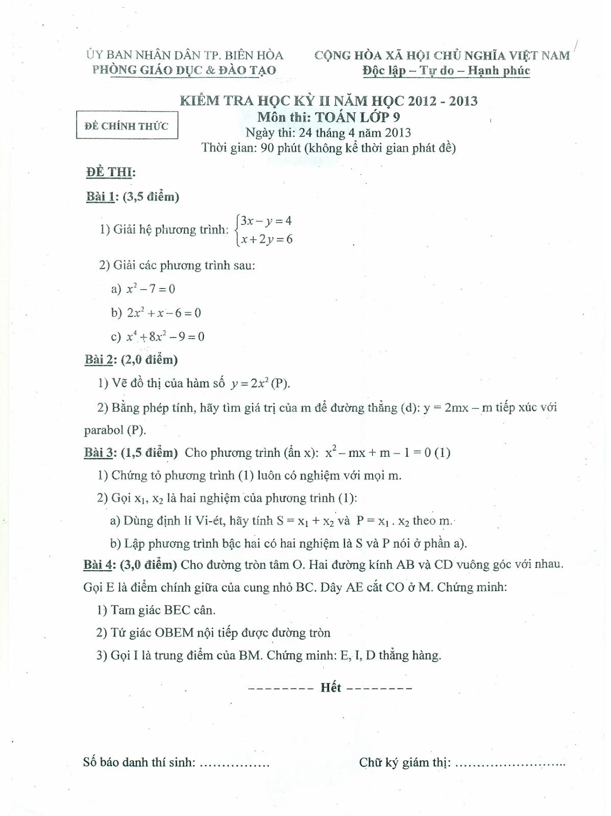 Đề thi học kỳ 2 môn toán lớp 9 tỉnh Đồng Nai năm 2013