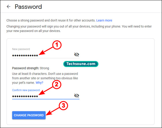 تغيير كلمة المرور Gmail 3