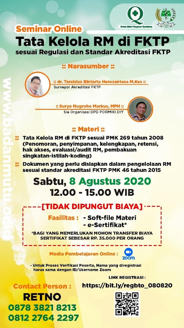 Bimtek Online Tata Kelola RM Tgl 8 Agustus 2020