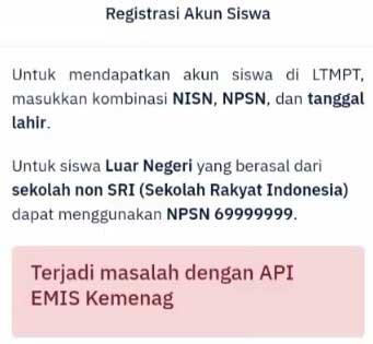 Mengapa gagal registrasi akun siswa LTMPT