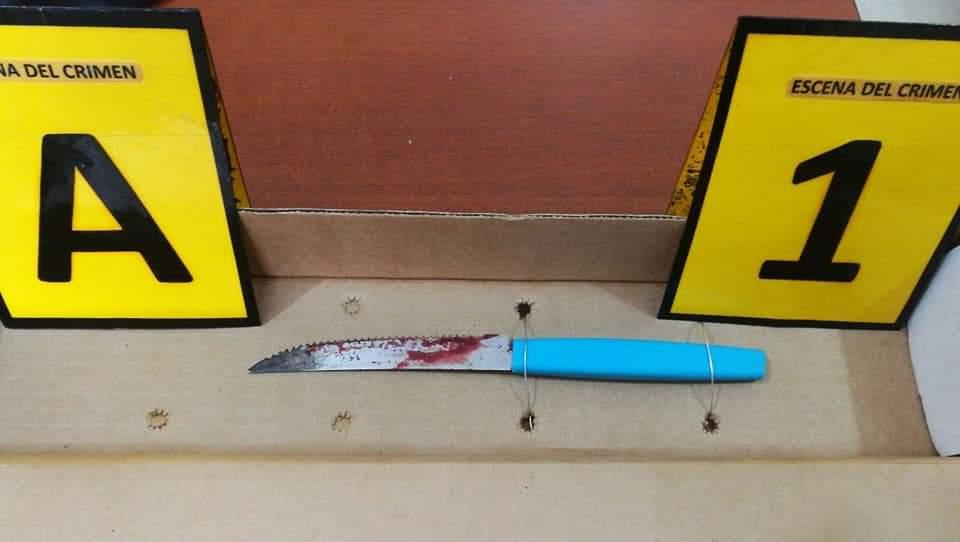 Un simple cuchillo de mesa sirvió al sujeto para cometer el parricidio / FELCC EL ALTO