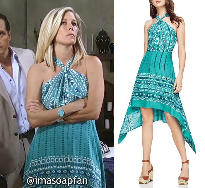 Carly Corinthos, Laura Wright, Turquoise Blue Scarf Print Crossover Halter Dress, BCBG, General Hospital, GH