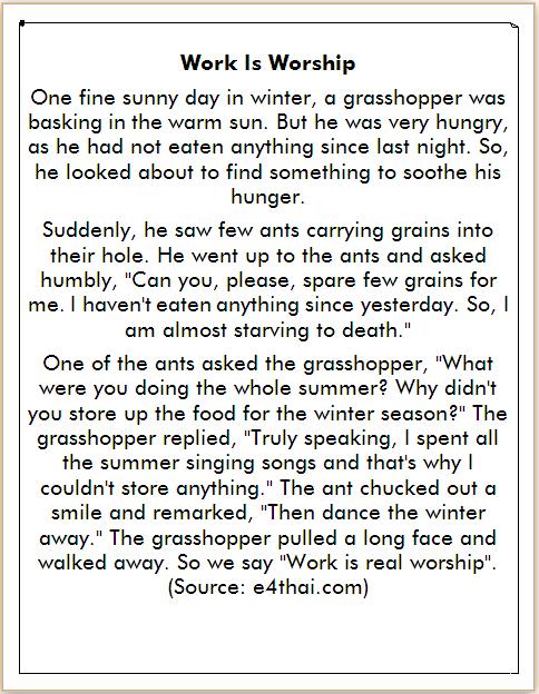 cerita belalang dan semut dalam bahasa Inggris
