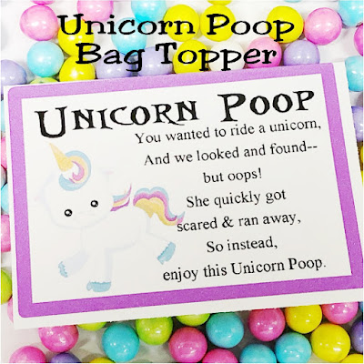 Unicorn Poop Bag Topper Printable by DIY Party Mom