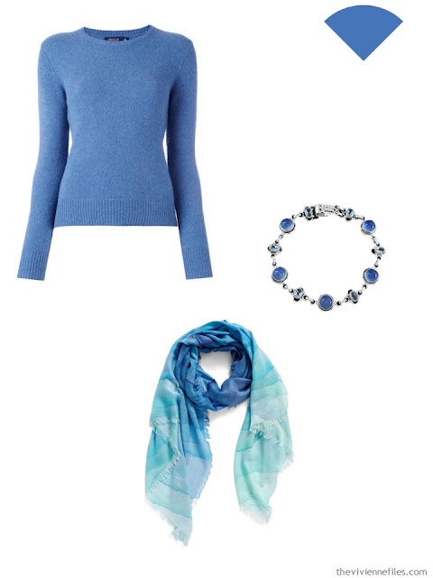 blue sweater, bracelet and scarf